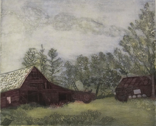 Farm on Blue Hill Road - intaglio print