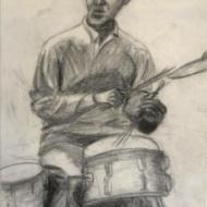Bebop Jazz Drummer - conti crayon