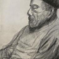 Frank Hewitt Bebop Pianist - conte crayon